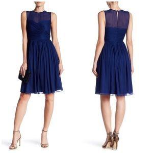 J. Crew 100% Silk Chiffon Clara Dress Navy